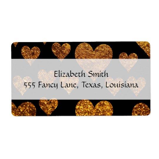 Love, Romance, Hearts, Glitter - Black Gold
