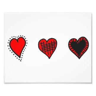 Love, Romance, Hearts - Red Black Photo Print