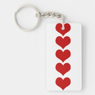 Love, Romance, Hearts - Red White Key Ring