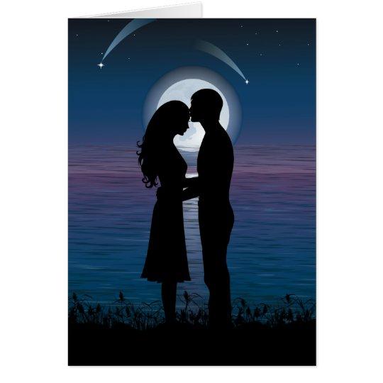 Love Romance Silhouette Couple On The Lake Coast Card
