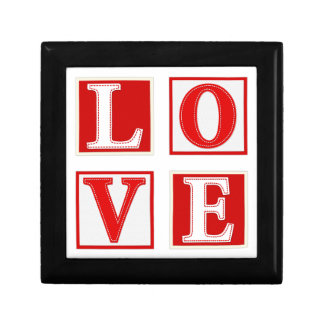 Love Romantic Patchwork Stitched Effect Typography Gift Box