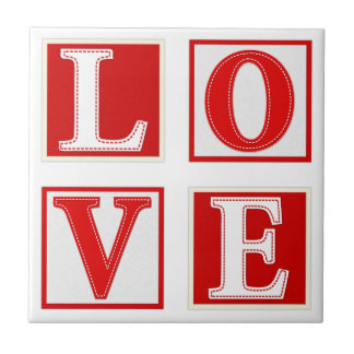 Love Romantic Patchwork Stitched Effect Typography Small Square Tile