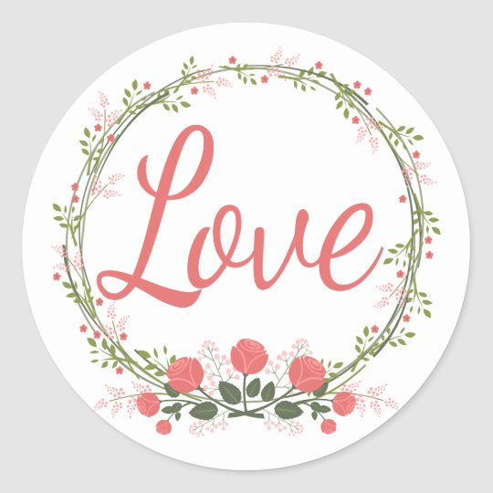 Love Rose Floral Wreath Red Pink Wedding Stickers