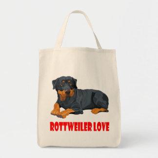Love Rottweiler Black & Brown Puppy Dog Tote Bag