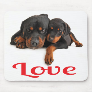 Love Rottweiler Puppy Dog White Mousepad