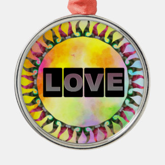 Love Round Metal Ornament