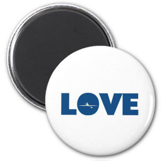 Love rowing 6 cm round magnet