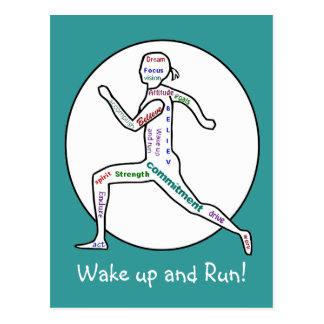 Love Running Motivational Words for Runners Postcard