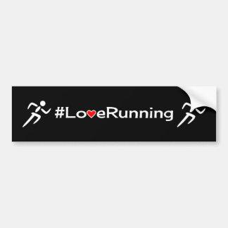 Love running slogan white on black bumper sticker