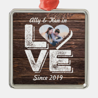 Love Rustic Woodland Photo Heart Frame Monogram Christmas Ornament