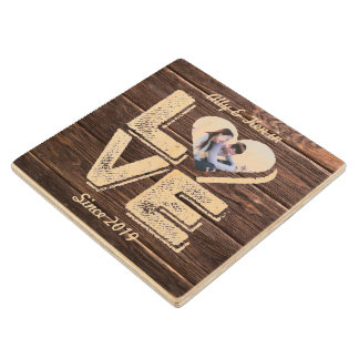 Love Rustic Woodland Photo Heart Frame Monogram Wood Coaster