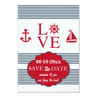 "Love Sailing Save The Date Announcement 3.5"" X 5"" Invitation Card"