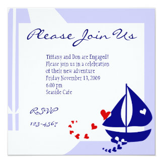 Love Sails 13 Cm X 13 Cm Square Invitation Card