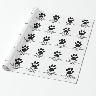 LOVE SAINT BERNARD DOG DESIGNS WRAPPING PAPER