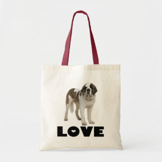 Love Saint Bernard Puppy Dog Canine Budget Tote Bag