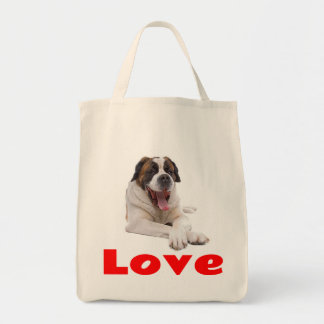 Love Saint Bernard Puppy Dog Canine Grocery Tote Bag