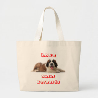 Love Saint Bernard Puppy Dog Canvas Totebag Jumbo Tote Bag