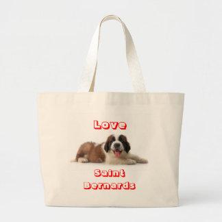 Love Saint Bernard Puppy Dog Canvas Totebag Jumbo Tote Bag
