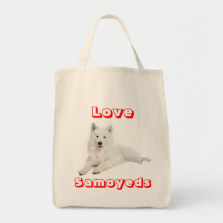 Love Samoyed Puppy Dog Canvas Grocery Totebag Grocery Tote Bag