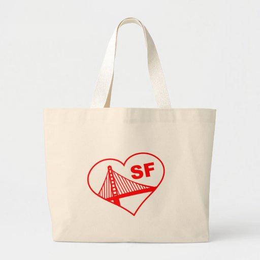 Love San Francisco Heart Tote Bags