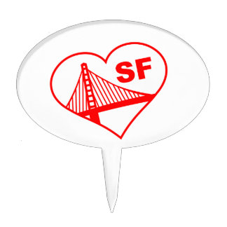 Love San Francisco Heart Cake Toppers