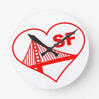 Love San Francisco Heart Round Clock