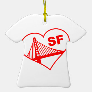 Love San Francisco Heart Christmas Ornaments