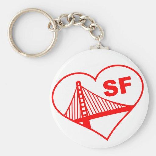 Love San Francisco Heart Keychains