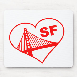 Love San Francisco Heart Mouse Pads
