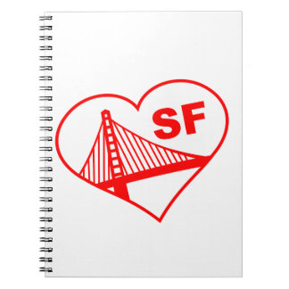 Love San Francisco Heart Note Books