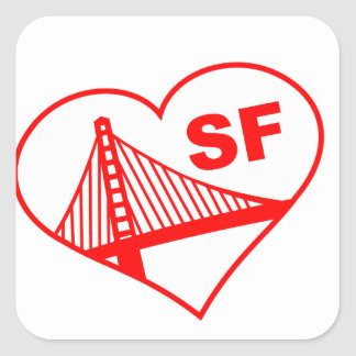 Love San Francisco Heart Square Sticker