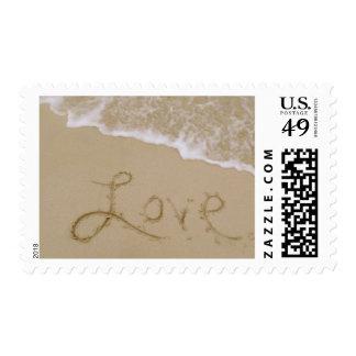 Love Sand Drawing Beach Wedding Invitation Postage
