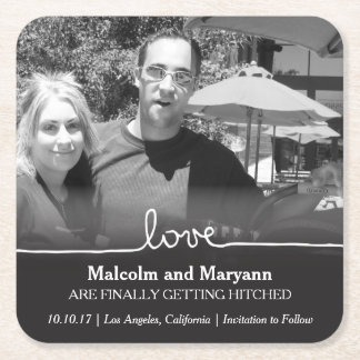 Love Save the Date Photo Coaster Square Paper Coaster