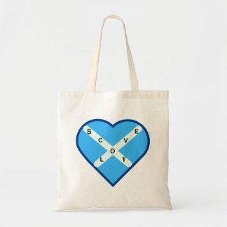 Love Scotland Sky Blue & White Cross Saltire Flag Tote Bag