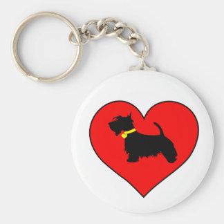 Love Scottie dog key ring Basic Round Button Key Ring
