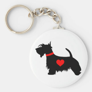 Love Scottie dog with heart key ring Basic Round Button Key Ring