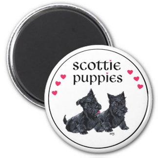 Love Scottie Puppies Valentine 6 Cm Round Magnet