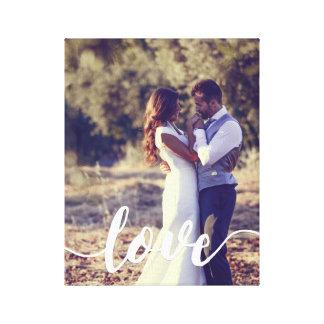 Love Script Overlay Photo Canvas Print
