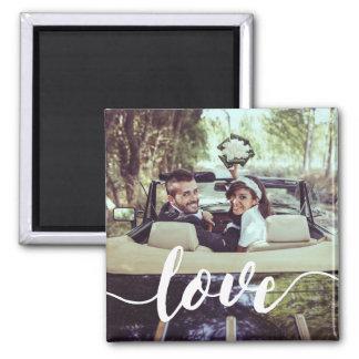 Love Script Overlay Photo Square Magnet