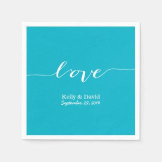Love Script Turquoise Modern Wedding Bridal Shower Disposable Serviette