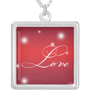 LOVE sentiment elegant script red glow keepsake Square Pendant Necklace