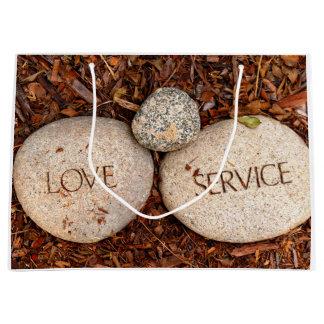 """Love"" ""Service"" Spiritual Religious Stones Large Gift Bag"