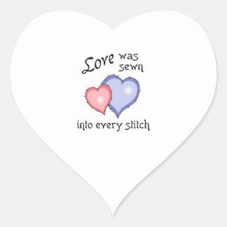 LOVE SEWN HEART STICKER