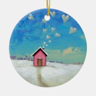 Love shack cabin fun romantic art Staying Warm Christmas Ornament