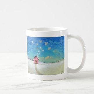 Love shack cabin fun romantic art Staying Warm Basic White Mug