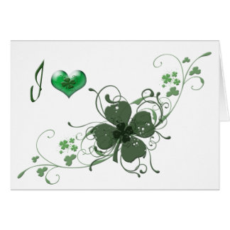 Love Shamrock digital art design Card