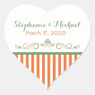 Love Shamrock Heart Wedding Stickers