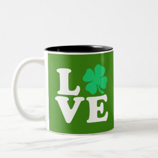 Love Shamrock - St. Patrick's Day Two-Tone Coffee Mug