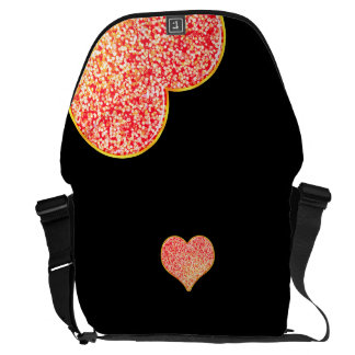 LOVE - Shiny Pink gold - Medium Messenger Bag