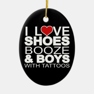 Love Shoes Booze Boys with Tattoos Christmas Ornament